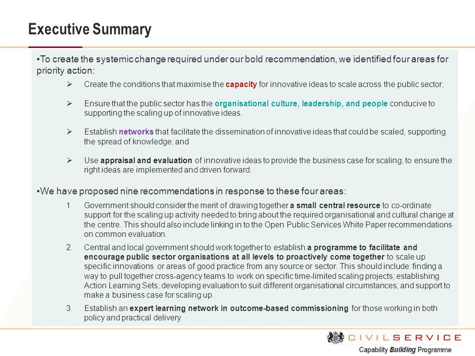 Executive Summary To create the systemic change required under our bold recommendation, we identified four areas for priority action:  Create the con