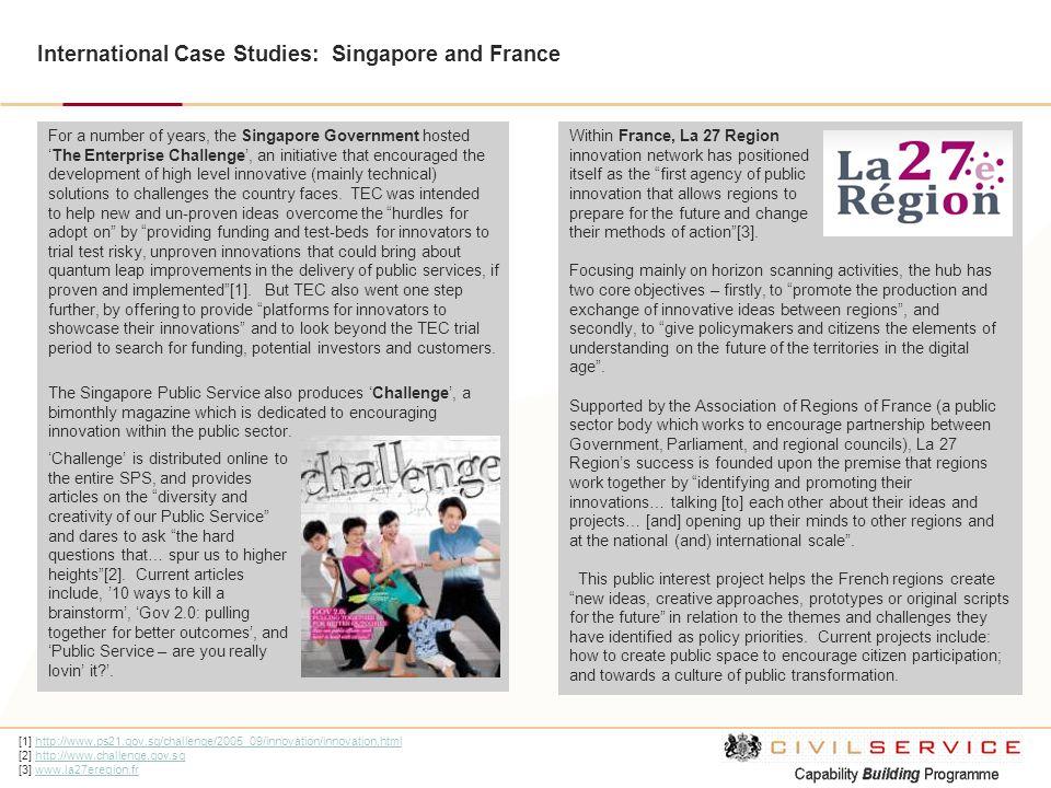 International Case Studies: Singapore and France [1] http://www.ps21.gov.sg/challenge/2005_09/innovation/innovation.htmlhttp://www.ps21.gov.sg/challen