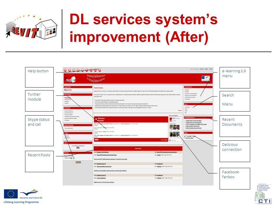 DL services system's improvement (After) Search Menu e-learning 2.0 menu Twitter module Recent Posts Recent Documents Facebook fanbox Skype status and call Help button Delicious connection