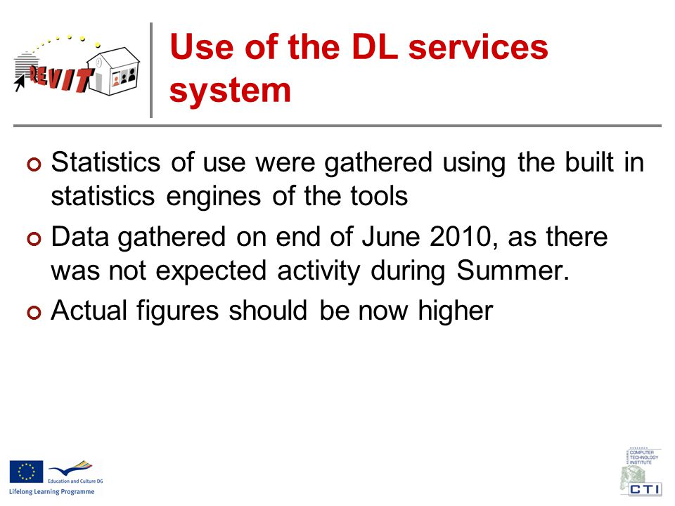 Use of the DL services system Statistics of use were gathered using the built in statistics engines of the tools Data gathered on end of June 2010, as there was not expected activity during Summer.