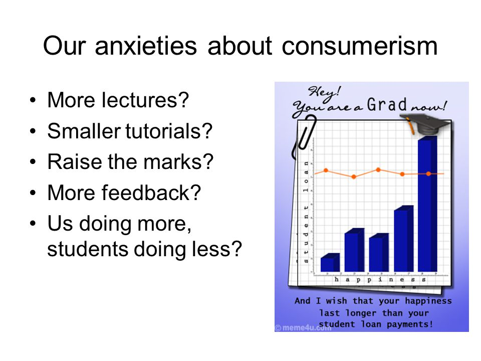 Our anxieties about consumerism More lectures? Smaller tutorials? Raise the marks? More feedback? Us doing more, students doing less?