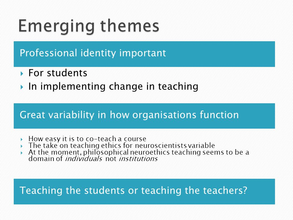 Professional identity important Great variability in how organisations function  For students  In implementing change in teaching  How easy it is t