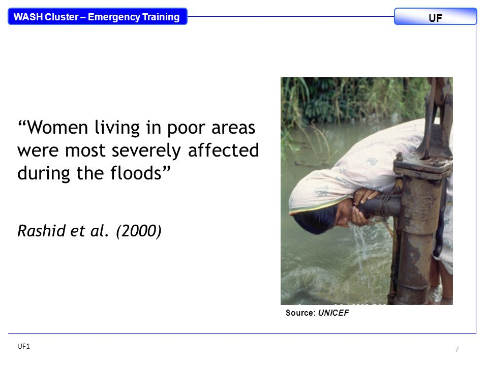 Perceived adverse impacts of floods in Dhaka, Bangladesh, 2007 1.Damaged property / house 2.Undesirable odours 3.Water-borne diseases 4.Contamination of water by sewage and waste 5.Mosquito infestation 6.Contamination of drinking water 7.Stagnant water in depressions 8.Growth of acquatic weeds Rashid et al.