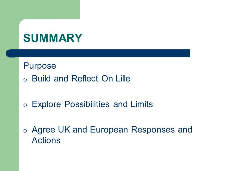 SUMMARY Purpose o Build and Reflect On Lille o Explore Possibilities and Limits o Agree UK and European Responses and Actions