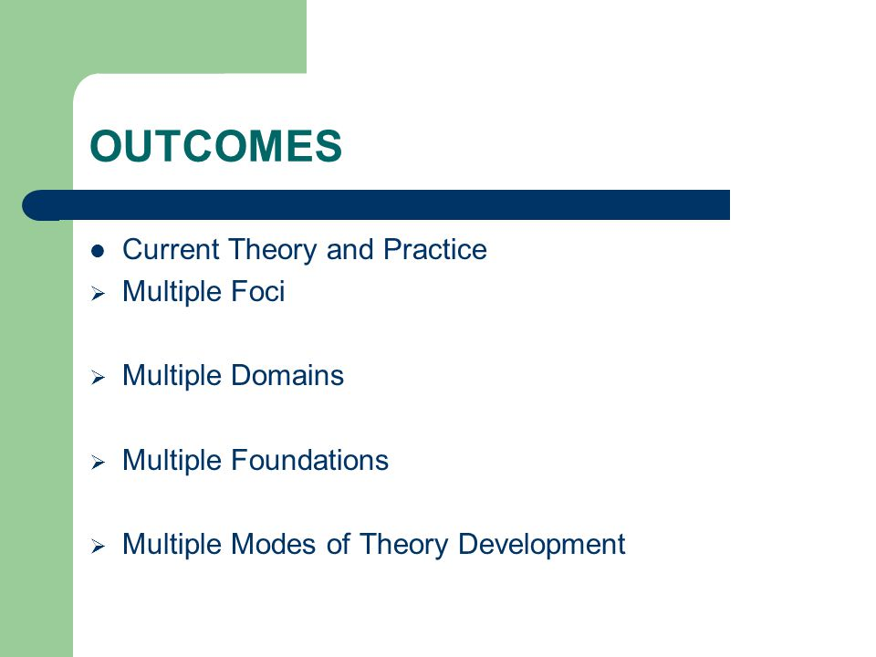 OUTCOMES Current Theory and Practice  Multiple Foci  Multiple Domains  Multiple Foundations  Multiple Modes of Theory Development