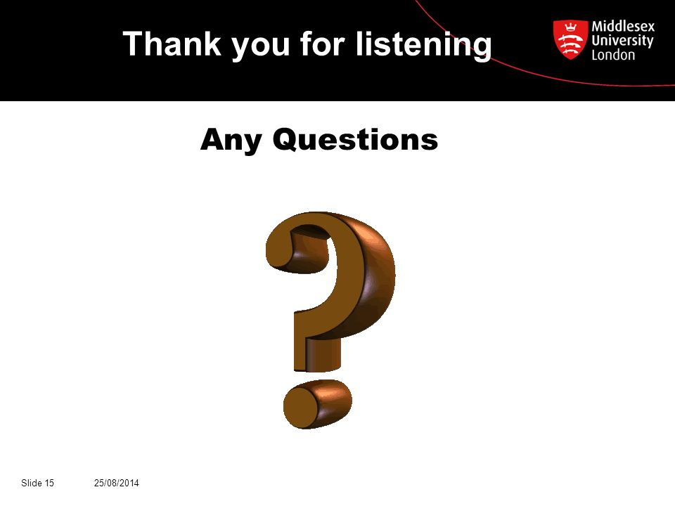 Thank you for listening Any Questions 25/08/2014Slide 15