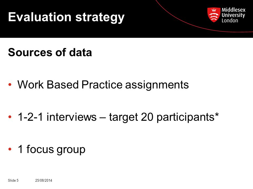 Evaluation strategy Sources of data Work Based Practice assignments 1-2-1 interviews – target 20 participants* 1 focus group 25/08/2014Slide 5