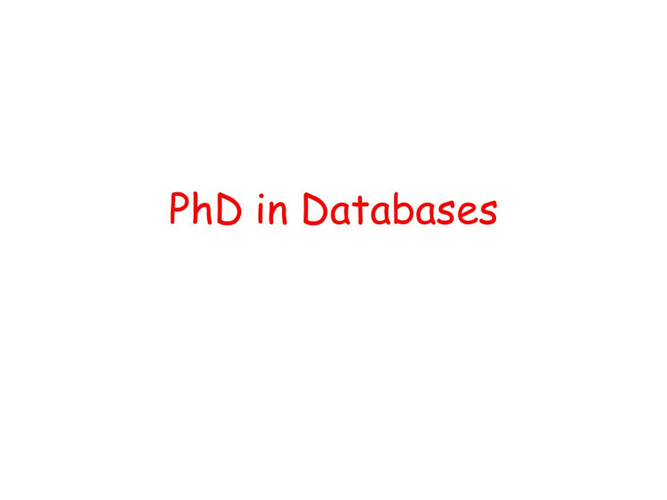 PhD in Databases