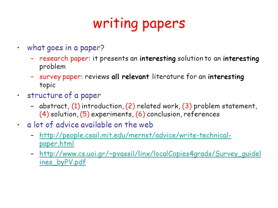 writing papers what goes in a paper.