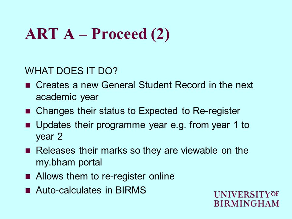 ART A – Proceed (2) WHAT DOES IT DO.