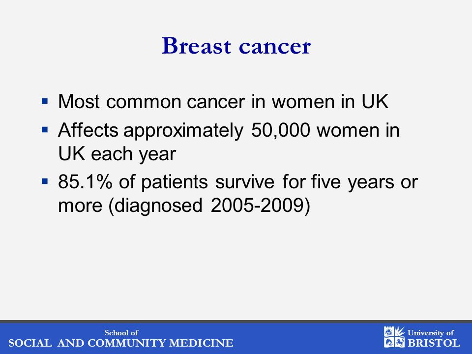 School of SOCIAL AND COMMUNITY MEDICINE University of BRISTOL Breast cancer  Most common cancer in women in UK  Affects approximately 50,000 women in UK each year  85.1% of patients survive for five years or more (diagnosed 2005-2009)