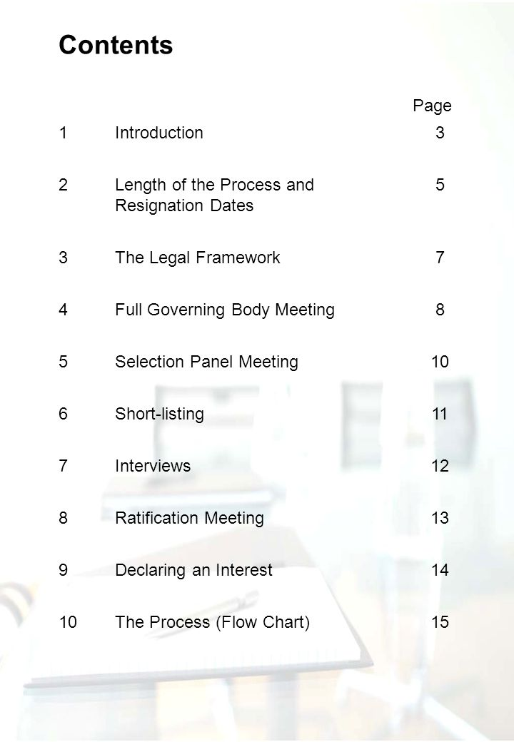 Page 1Introduction3 2Length of the Process and Resignation Dates 5 3The Legal Framework7 4Full Governing Body Meeting8 5Selection Panel Meeting10 6Sho