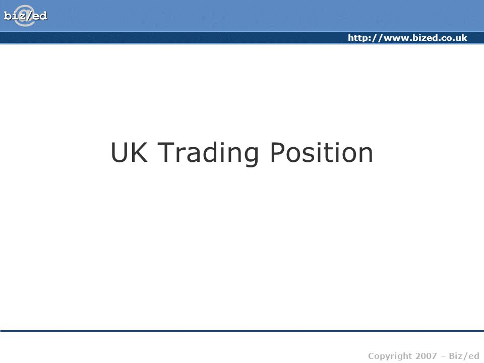 http://www.bized.co.uk Copyright 2007 – Biz/ed UK Trading Position