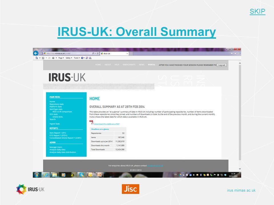 irus.mimas.ac.uk IRUS-UK: Overall Summary SKIP