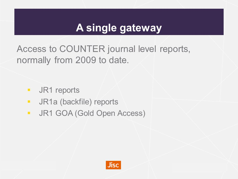 irus.mimas.ac.uk Access to COUNTER journal level reports, normally from 2009 to date.