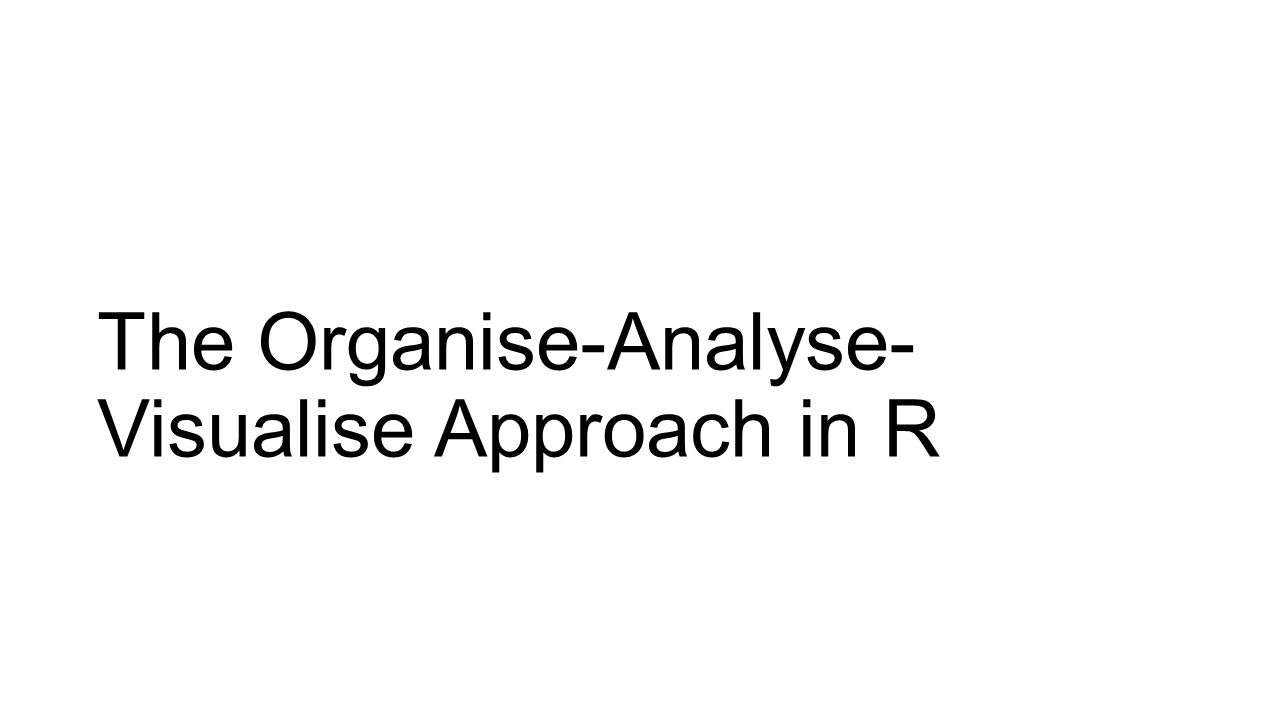 The Organise-Analyse- Visualise Approach in R