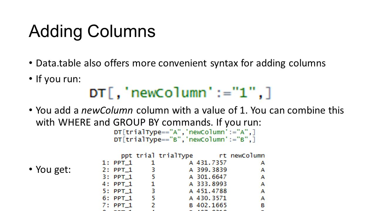 Adding Columns Data.table also offers more convenient syntax for adding columns If you run: You add a newColumn column with a value of 1. You can comb