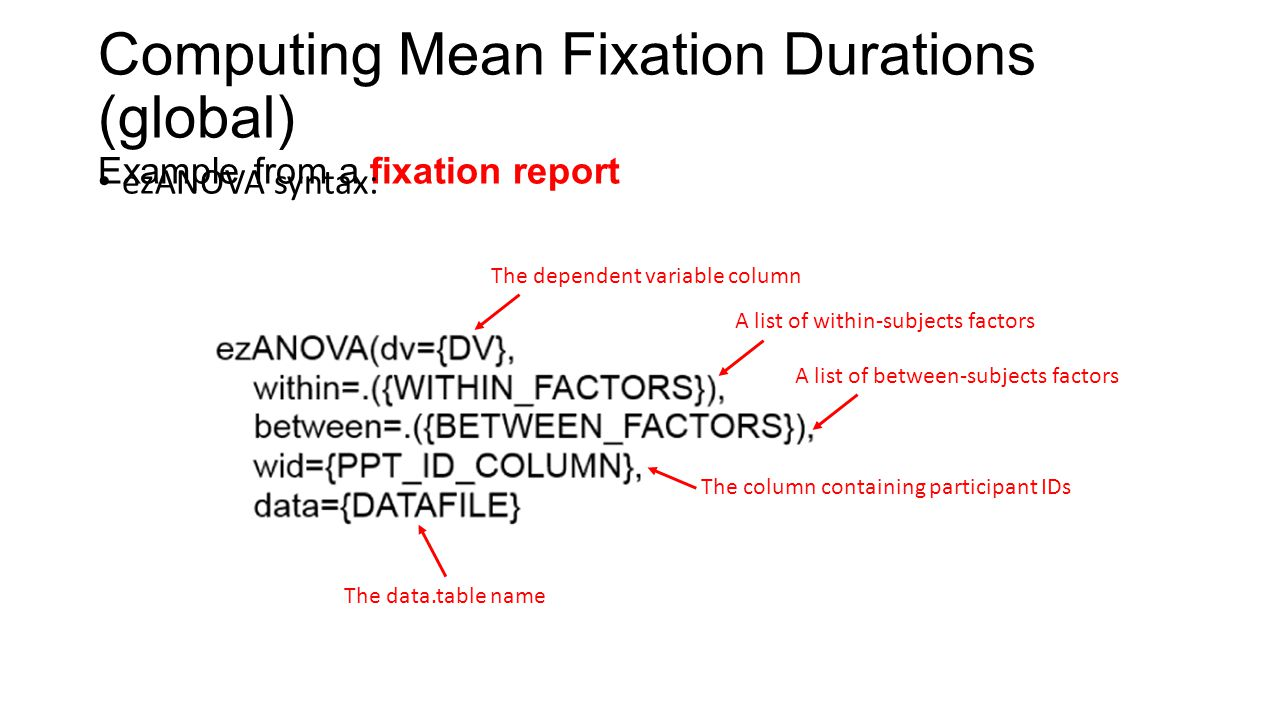 Computing Mean Fixation Durations (global) Example from a fixation report ezANOVA syntax: The dependent variable column A list of within-subjects fact