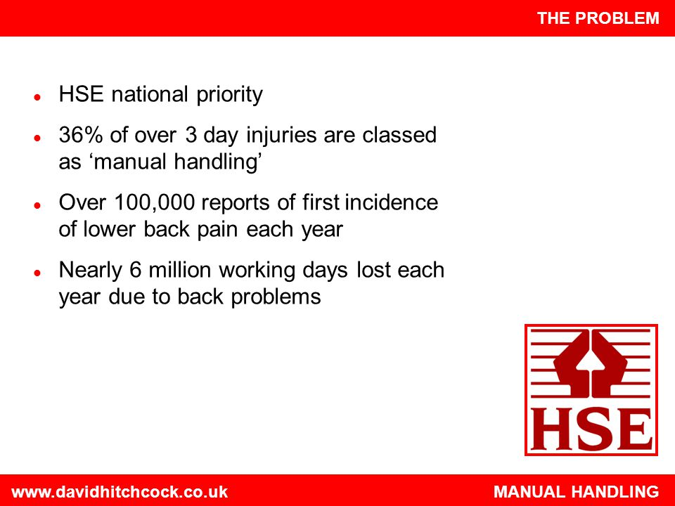 www.davidhitchcock.co.uk MANUAL HANDLING INJURIES Single episode is often actually the result of cumulative trauma