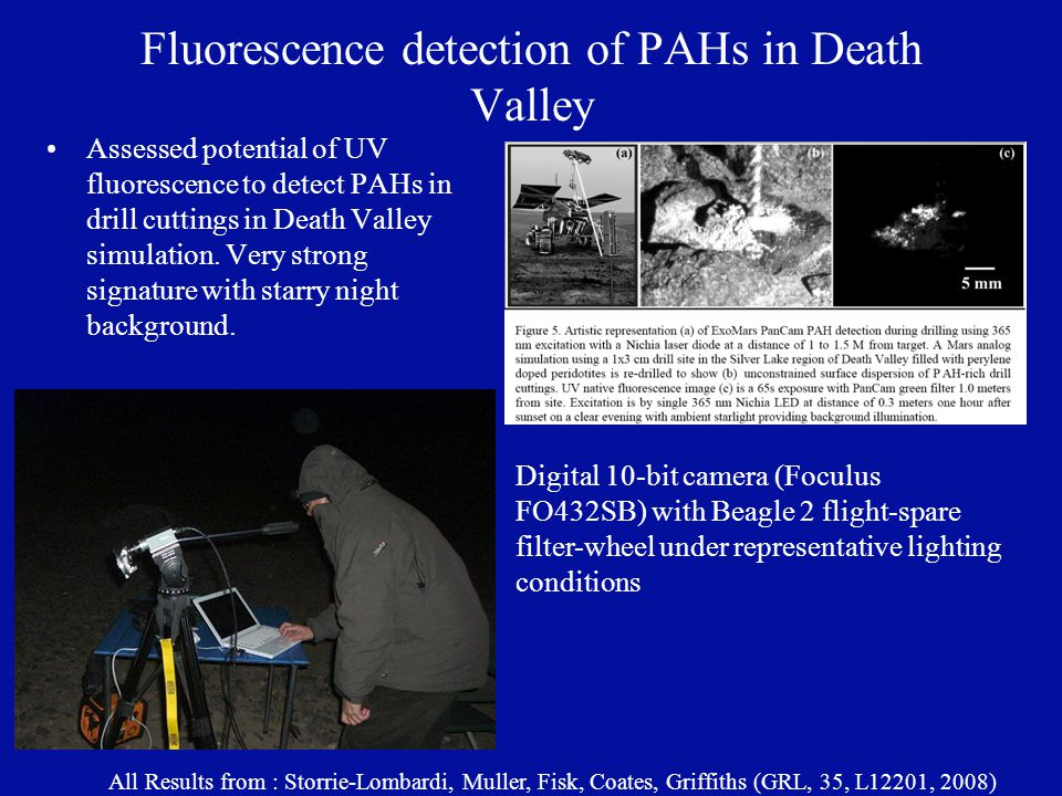 Fluorescence detection of PAHs in Death Valley Assessed potential of UV fluorescence to detect PAHs in drill cuttings in Death Valley simulation.