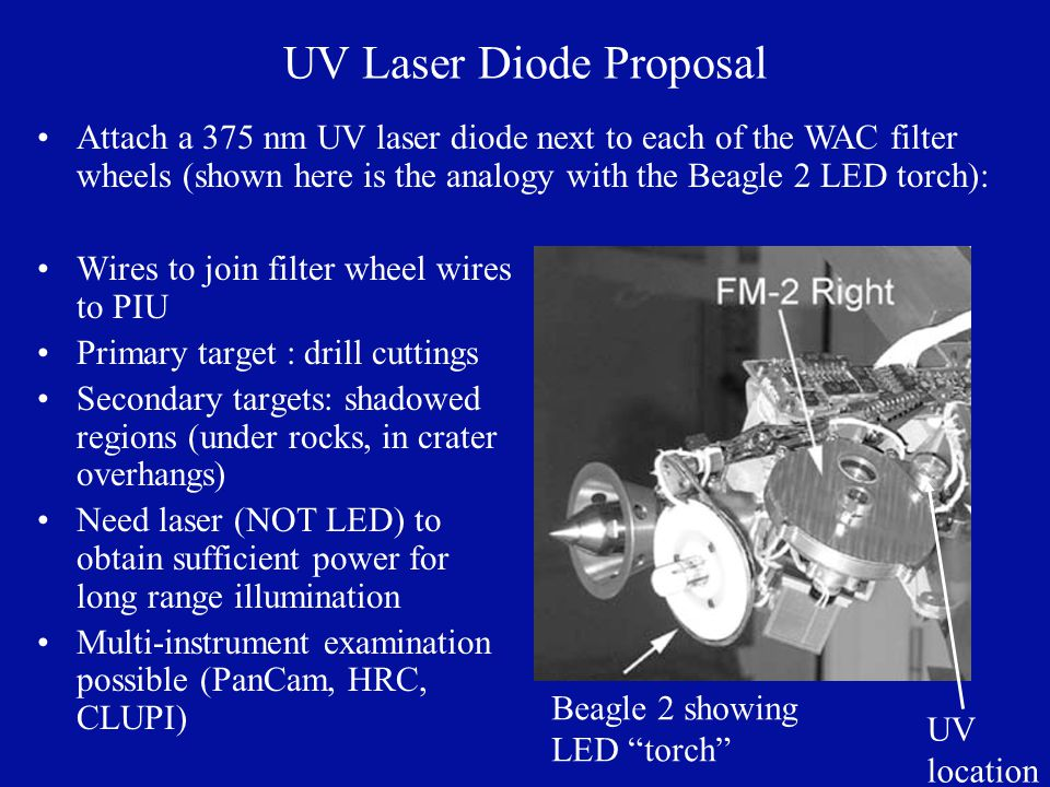 UV Laser Diode Proposal Wires to join filter wheel wires to PIU Primary target : drill cuttings Secondary targets: shadowed regions (under rocks, in crater overhangs) Need laser (NOT LED) to obtain sufficient power for long range illumination Multi-instrument examination possible (PanCam, HRC, CLUPI) UV location Beagle 2 showing LED torch Attach a 375 nm UV laser diode next to each of the WAC filter wheels (shown here is the analogy with the Beagle 2 LED torch):