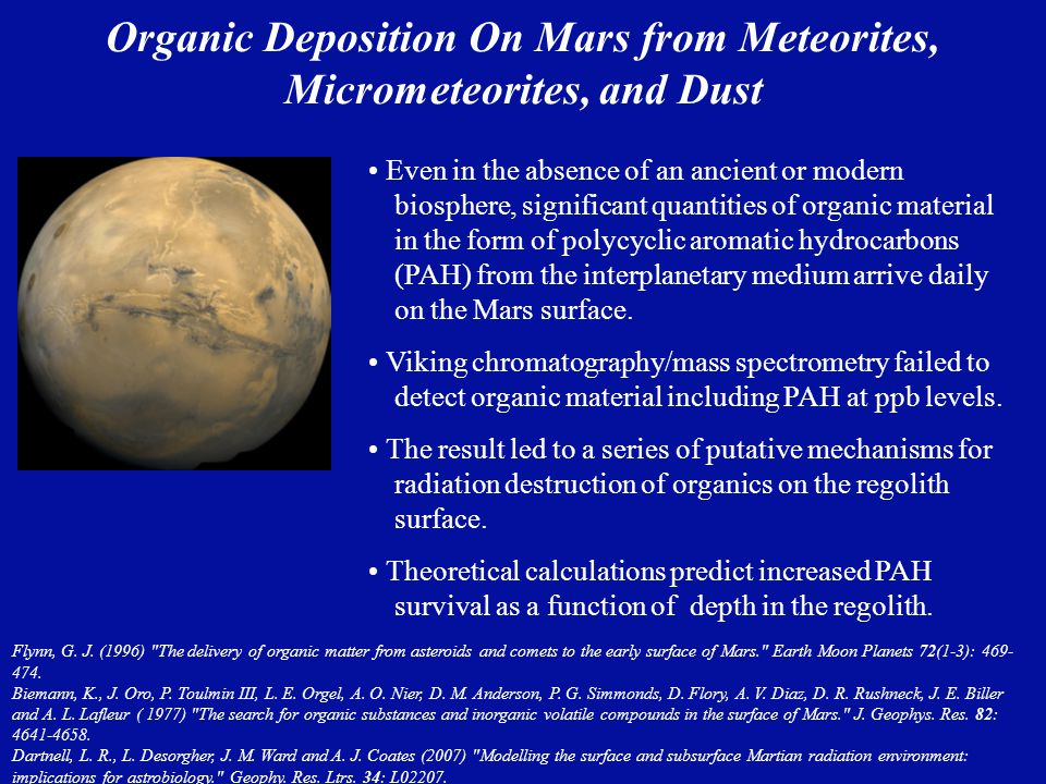Organic Deposition On Mars from Meteorites, Micrometeorites, and Dust Even in the absence of an ancient or modern biosphere, significant quantities of organic material in the form of polycyclic aromatic hydrocarbons (PAH) from the interplanetary medium arrive daily on the Mars surface.