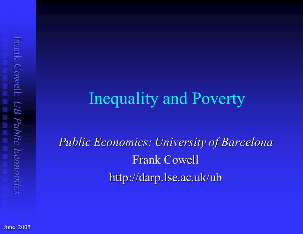 Frank Cowell: UB Public Economics Original income – Lorenz 0.00.10.20.30.40.5 0.6 0.7 0.8 0.9 1.0   Lorenz curves intersect   Is 1993 more equal.