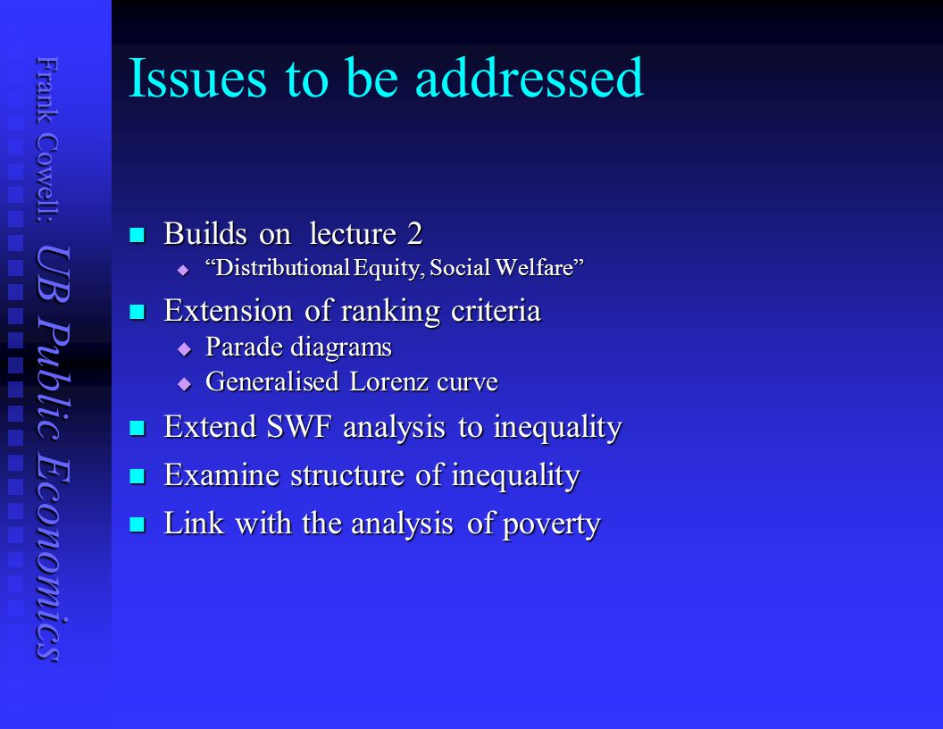 Frank Cowell: UB Public Economics Poverty concepts Given poverty line z Given poverty line z  a reference point Poverty gap Poverty gap  fundamental income difference Foster et al (1984) poverty index again Foster et al (1984) poverty index again Cumulative poverty gap Cumulative poverty gap