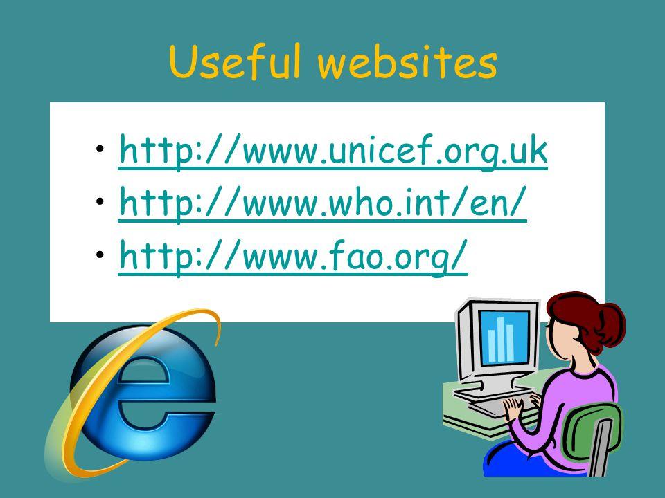 Useful websites http://www.unicef.org.uk http://www.who.int/en/ http://www.fao.org/