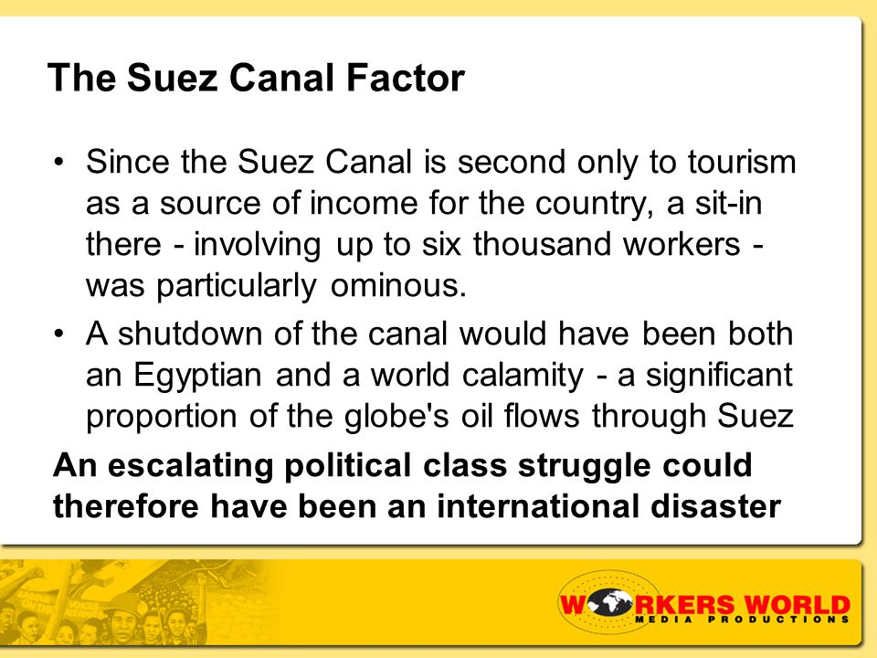 The Suez Canal Factor Since the Suez Canal is second only to tourism as a source of income for the country, a sit-in there - involving up to six thousand workers - was particularly ominous.