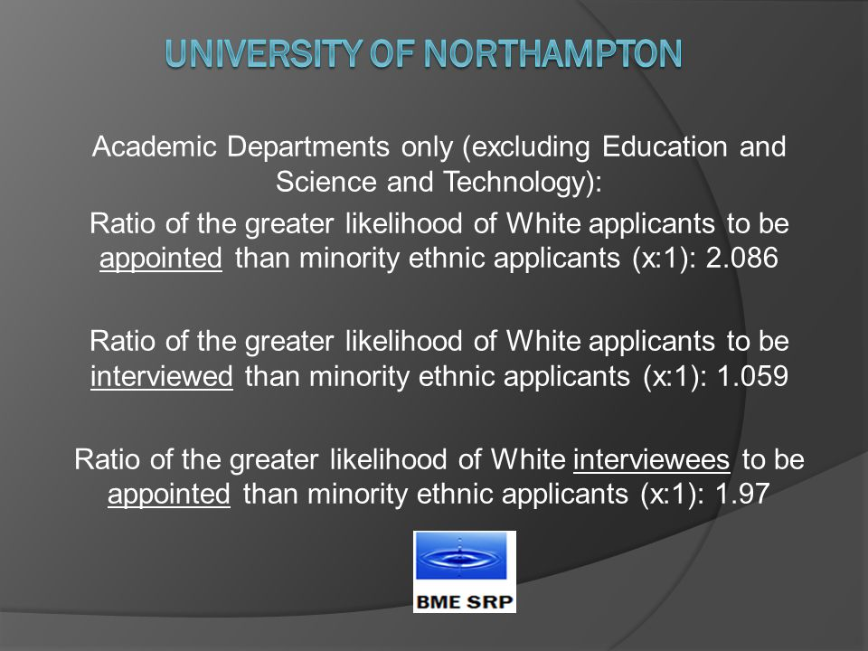 Academic Departments only (excluding Education and Science and Technology): Ratio of the greater likelihood of White applicants to be appointed than minority ethnic applicants (x:1): 2.086 Ratio of the greater likelihood of White applicants to be interviewed than minority ethnic applicants (x:1): 1.059 Ratio of the greater likelihood of White interviewees to be appointed than minority ethnic applicants (x:1): 1.97