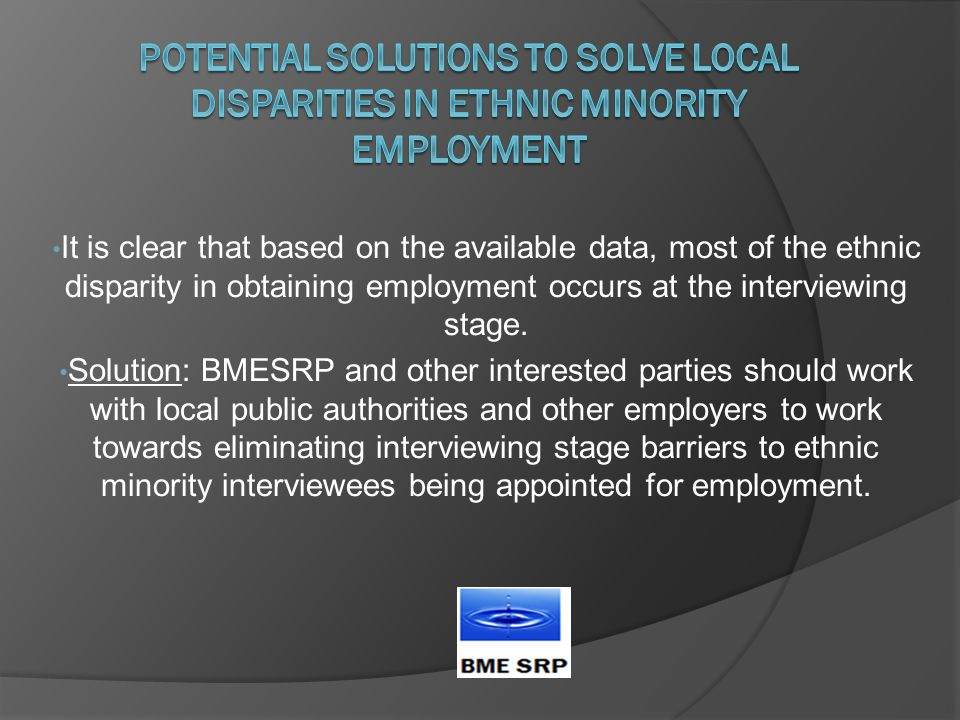 It is clear that based on the available data, most of the ethnic disparity in obtaining employment occurs at the interviewing stage.
