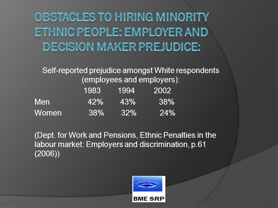 Self-reported prejudice amongst White respondents (employees and employers): 1983 1994 2002 Men 42% 43% 38% Women 38% 32% 24% (Dept.