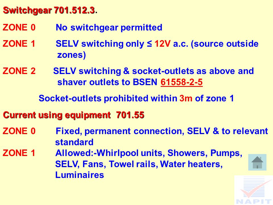 Switchgear 701.512.3 Switchgear 701.512.3. ZONE 0 No switchgear permitted ZONE 1 SELV switching only ≤ 12V a.c. (source outside zones) ZONE 2 SELV swi