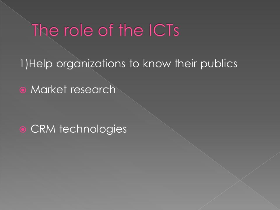 1)Help organizations to know their publics  Market research  CRM technologies