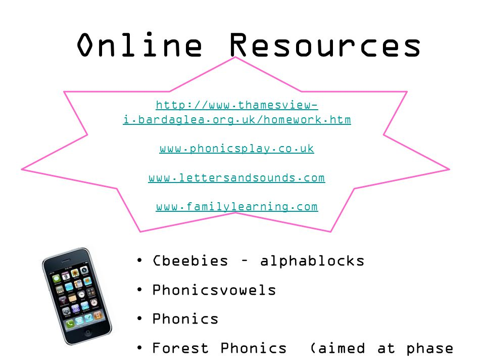 Online Resources http://www.thamesview- i.bardaglea.org.uk/homework.htm www.phonicsplay.co.uk www.lettersandsounds.com www.familylearning.com Cbeebies – alphablocks Phonicsvowels Phonics Forest Phonics (aimed at phase 3 above)