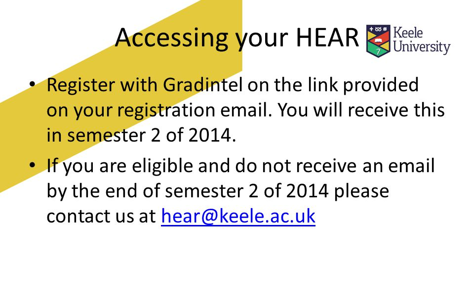 Accessing your HEAR Register with Gradintel on the link provided on your registration  .