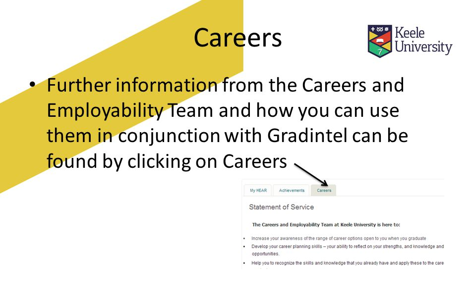 Careers Further information from the Careers and Employability Team and how you can use them in conjunction with Gradintel can be found by clicking on Careers