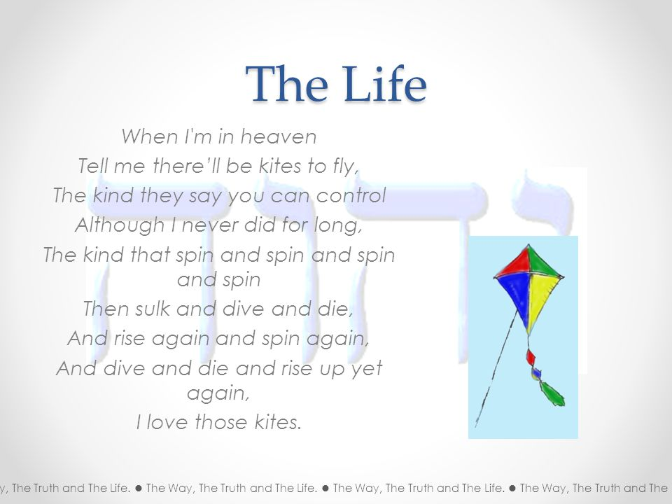 The Life When I m in heaven Tell me there'll be kites to fly, The kind they say you can control Although I never did for long, The kind that spin and spin and spin and spin Then sulk and dive and die, And rise again and spin again, And dive and die and rise up yet again, I love those kites.
