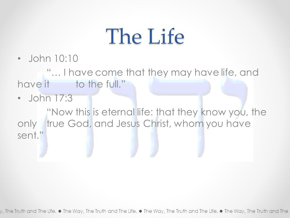 The Life John 10:10 … I have come that they may have life, and have it to the full. John 17:3 Now this is eternal life: that they know you, the only true God, and Jesus Christ, whom you have sent. The Way, The Truth and The Life.