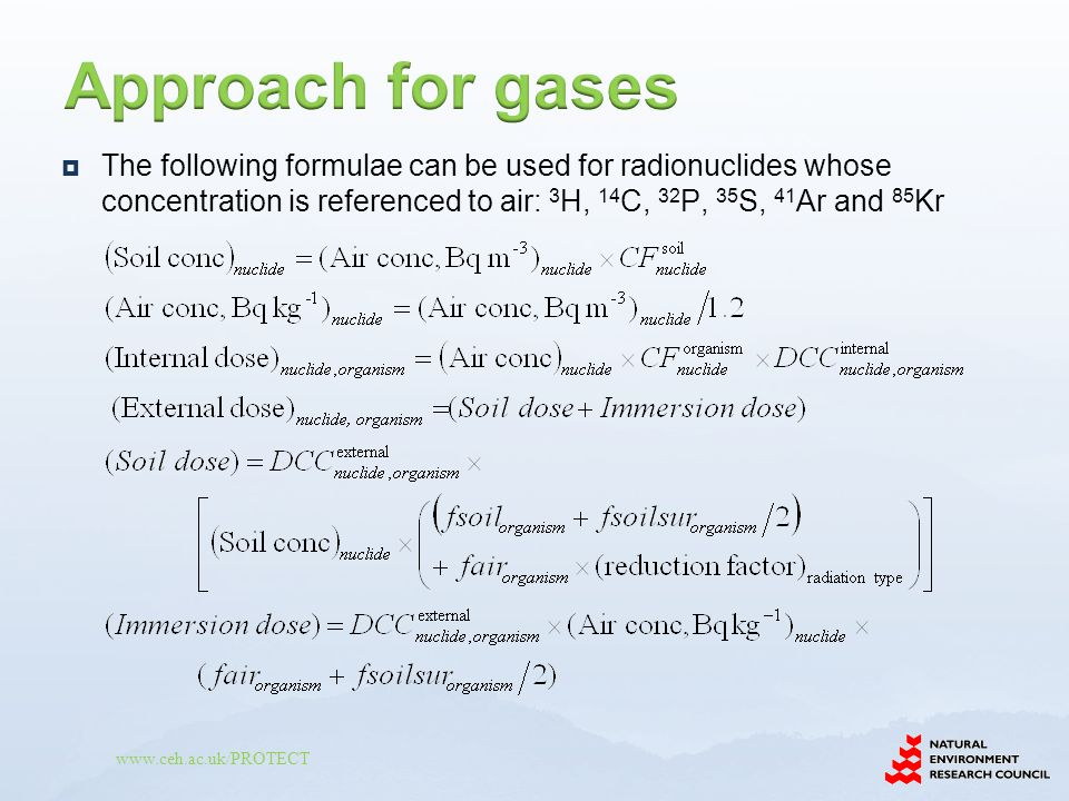  The following formulae can be used for radionuclides whose concentration is referenced to air: 3 H, 14 C, 32 P, 35 S, 41 Ar and 85 Kr