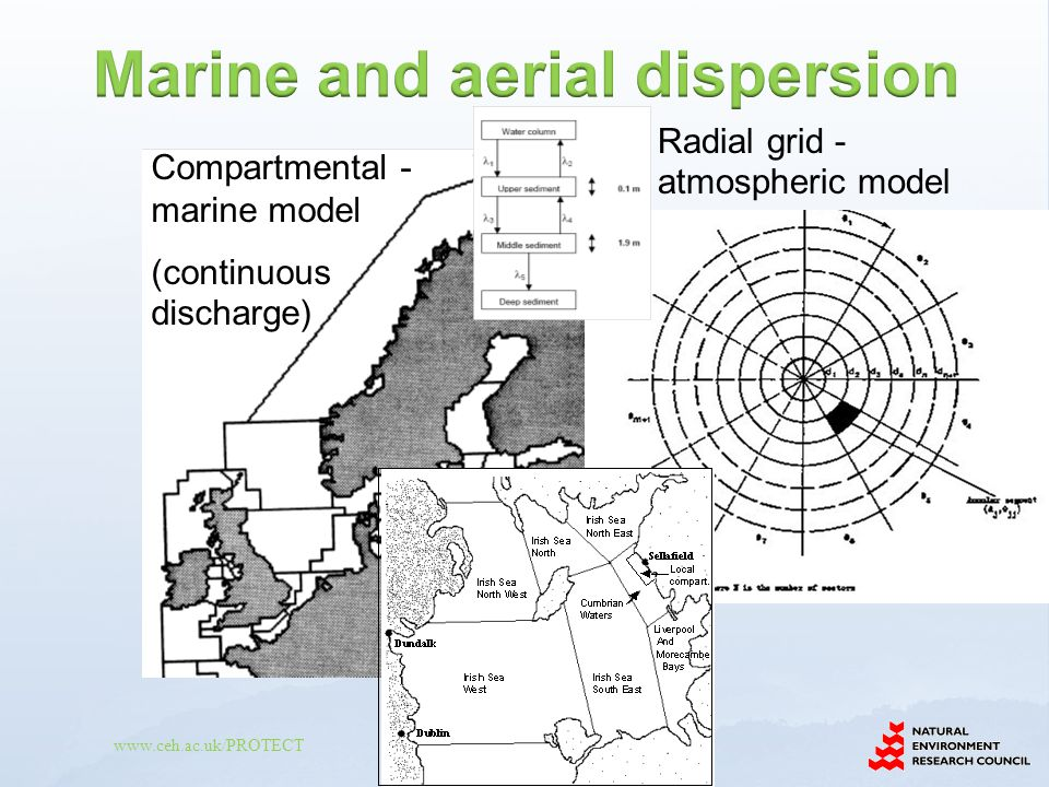 www.ceh.ac.uk/PROTECT Compartmental - marine model (continuous discharge) Radial grid - atmospheric model