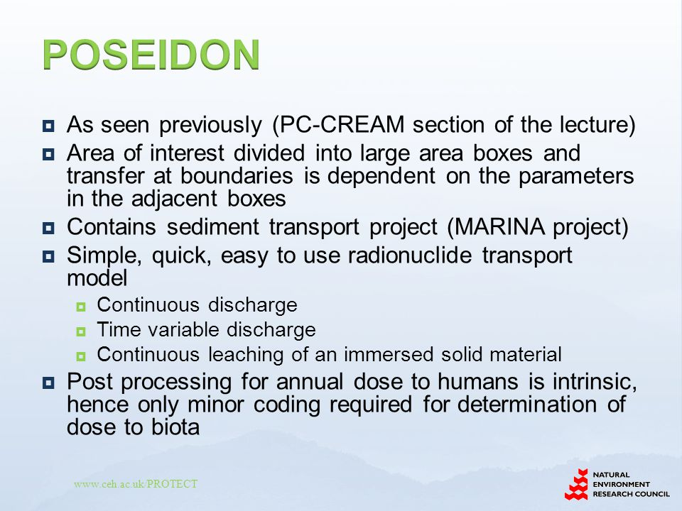 www.ceh.ac.uk/PROTECT  As seen previously (PC-CREAM section of the lecture)  Area of interest divided into large area boxes and transfer at boundari