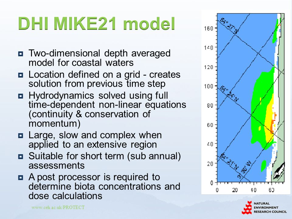 www.ceh.ac.uk/PROTECT  Two-dimensional depth averaged model for coastal waters  Location defined on a grid - creates solution from previous time ste