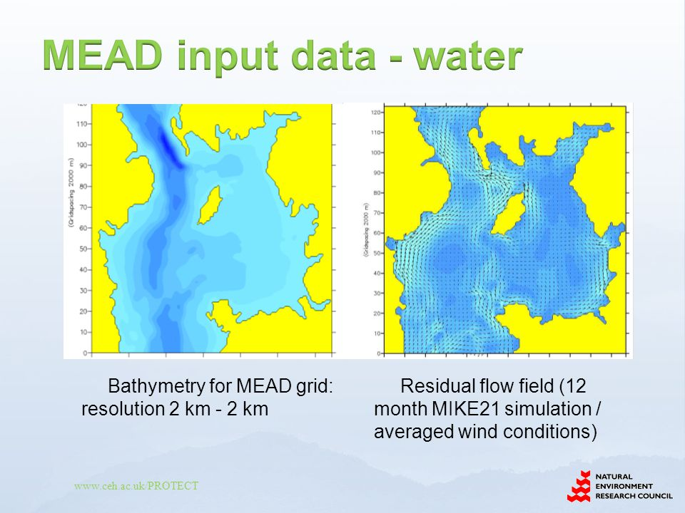www.ceh.ac.uk/PROTECT Residual flow field (12 month MIKE21 simulation / averaged wind conditions) Bathymetry for MEAD grid: resolution 2 km - 2 km