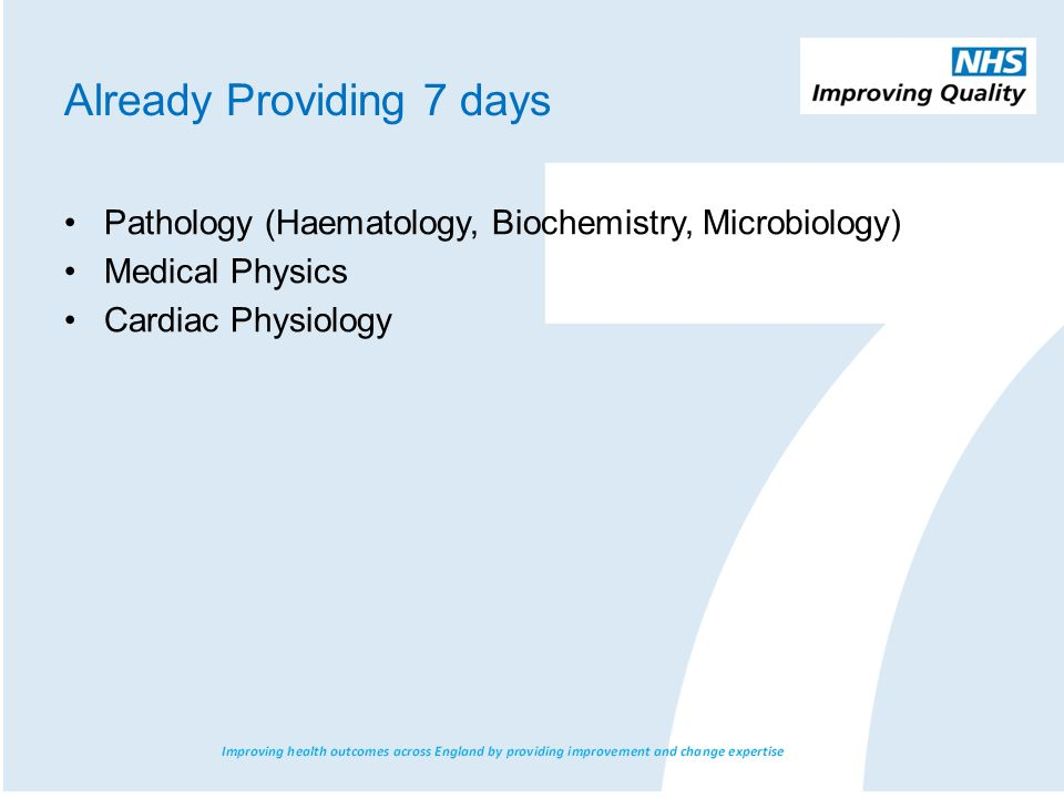 Already Providing 7 days Pathology (Haematology, Biochemistry, Microbiology) Medical Physics Cardiac Physiology