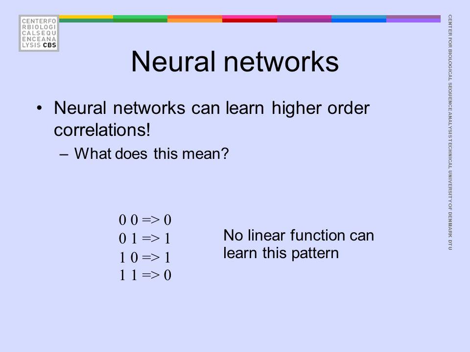 CENTER FOR BIOLOGICAL SEQUENCE ANALYSISTECHNICAL UNIVERSITY OF DENMARK DTU Neural networks w 11 w 12 v1v1 w 21 w 22 v2v2 w 11 =1, w 12 =-1 w 21 =1 w 22 =-1 V 1 = 0.5 v 2 = -0.5