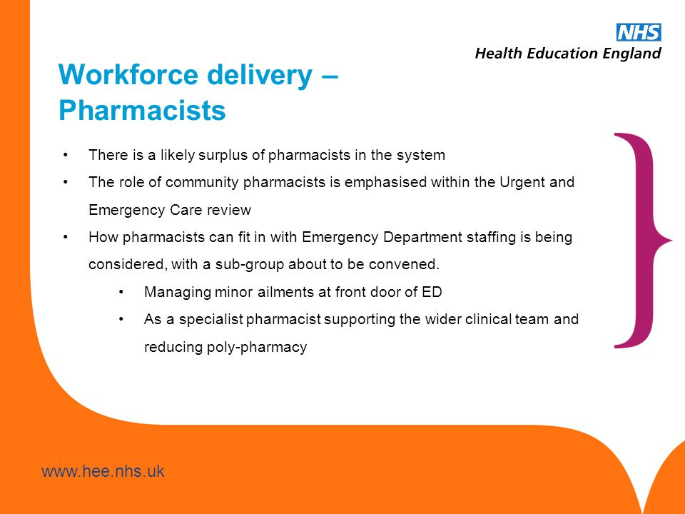 www.hee.nhs.uk Workforce delivery – Pharmacists There is a likely surplus of pharmacists in the system The role of community pharmacists is emphasised