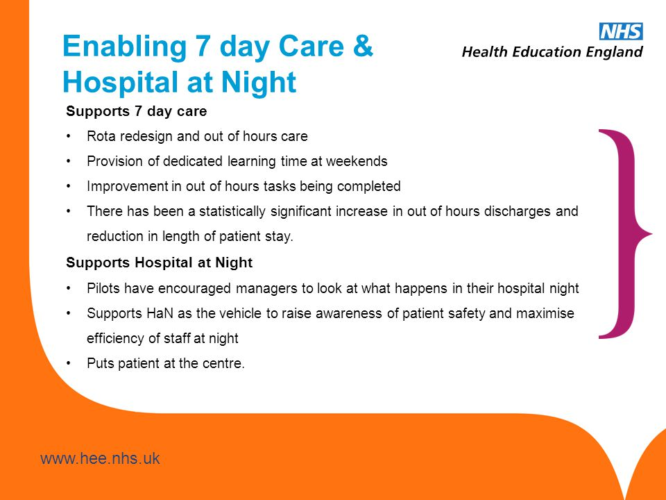 www.hee.nhs.uk Enabling 7 day Care & Hospital at Night Supports 7 day care Rota redesign and out of hours care Provision of dedicated learning time at