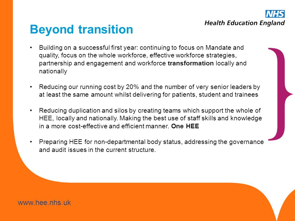 www.hee.nhs.uk Beyond transition Building on a successful first year: continuing to focus on Mandate and quality, focus on the whole workforce, effect